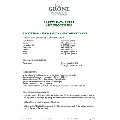 safety datasheet and processing en